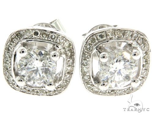 14K White Gold Prong Diamond Cluster Stud Earrings 57221 Stone