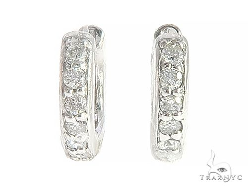 14K White Gold Prong Diamond Small Hoops Earring 65452 Stone