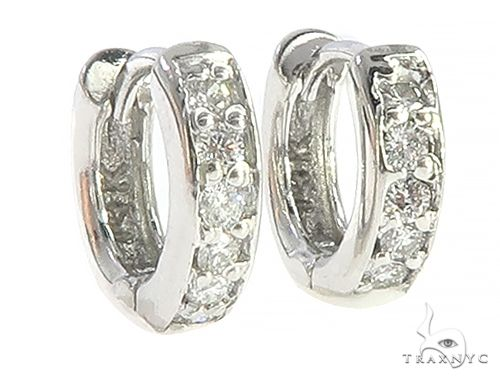 14K White Gold Prong Diamond Small Hoops Earring 65453 Stone