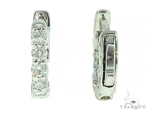 14K White Gold Prong Diamond Small Hoop Earring 65766 Style