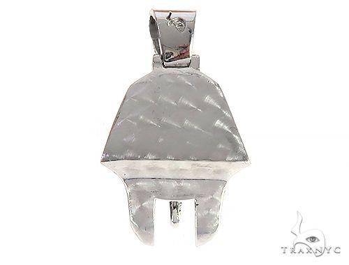 14K White Gold Prong Diamond Small Pharaoh King Tut Charm Pendant 65106 Metal