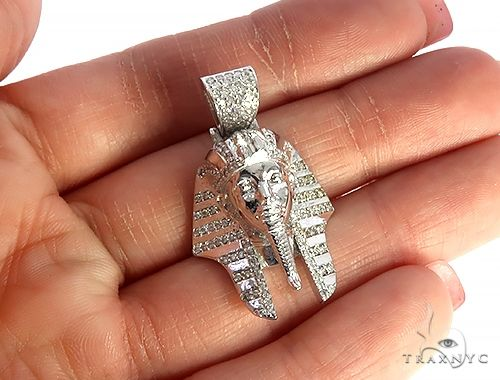 14K White Gold Prong Diamond Small Pharaoh King Tut Charm Pendant 65106 Metal