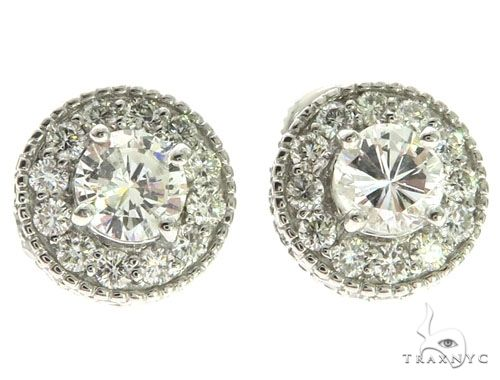 14K White Gold Prong Micro Pave Diamond Solitaire Stud Earrings 62563 Stone