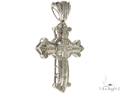 14K White Gold Round Princess Cut Diamond Cross Crucifix 57214 Diamond