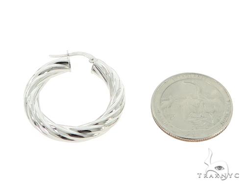 14K White Gold Twisted Hoop Earrings 56806 Metal