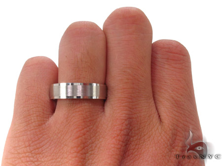 14K White Gold Wedding Band 33681 Style