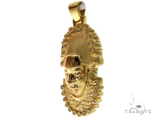 14K YG Bezel Diamond African Mask Pendant 58425 Metal