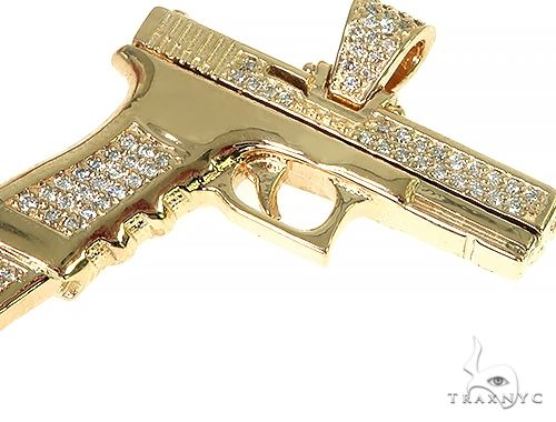 14K YG Prong Diamond Gun Pendant 58427 Metal