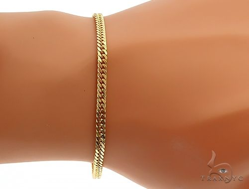 14K Yellow Gold  Double Curb Link Bracelet 8 inches 3.8mm 7.69 gm 65195 Gold