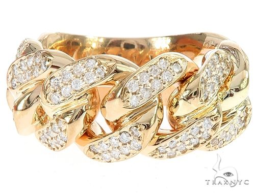 14K Yellow Gold 12mm 2 Row Diamond Miami Cuban Ring 65029 Stone