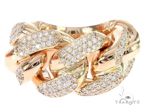 14K Yellow Gold 17mm 3 Row Diamond Miami Cuban Ring 65028 Stone