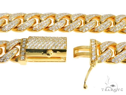 14K Yellow Gold 26 Inches Diamond Chain with Custom Diamond Lock 63947 Diamond