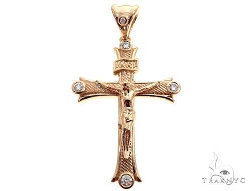 14K Yellow Gold Bezel Diamond Jesus Christ Crucifix 64684 Diamond