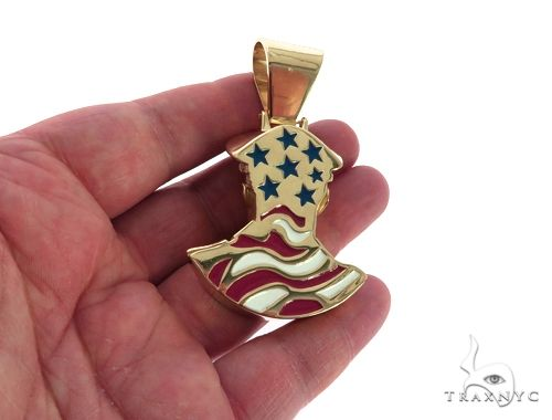 14K Yellow Gold Bezel Diamond Patriot the American Soldier Charm Pendant 63309 Metal