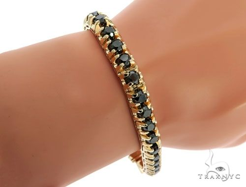14K Yellow Gold Black Diamond Bracelet 61796 Diamond