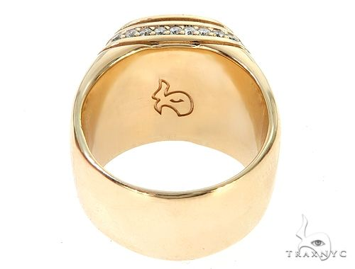 14K Yellow Gold Black Diamond Cushion Cut Pinky Ring 65079 Stone