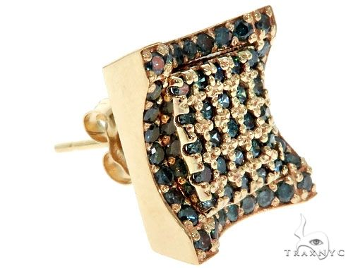 14K Yellow Gold Blue Diamond Single Square Earring 61481 Stone