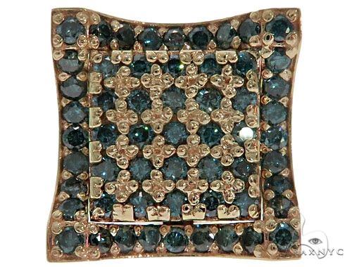 14K Yellow Gold Blue Diamond Single Square Earring 61481 Stone