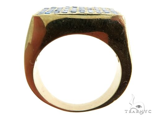 14K Yellow Gold Blue Diamond Square Ring 61503 Stone