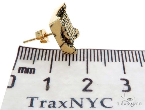 14K Yellow Gold Blue Diamonds Small Single Square Earring 61482 Stone