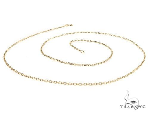 14K Yellow Gold Cable Link Chain 24 Inches 1.4mm 3.4 Grams 64398 Gold