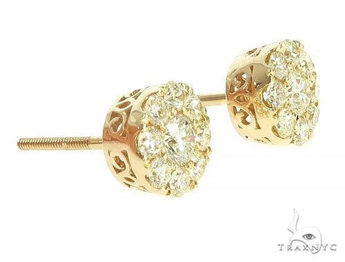14K Yellow Gold Cluster Stud Earrings 65857 Style