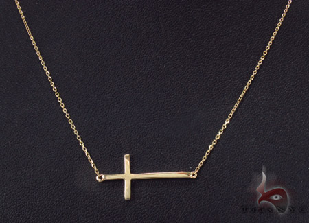14K Yellow Gold Cross Crucifix Necklace 33977 Gold