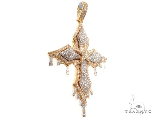 14K Yellow Gold Cross Pendant 64578 Diamond