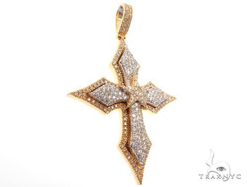 14K Yellow Gold Cross Pendant 64579 Diamond