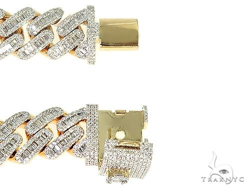 14K Yellow Gold Cuban Link Diamond Baguette  Bracelet  71.20 Grams 8.5 Inches 15mm 66239 Diamond