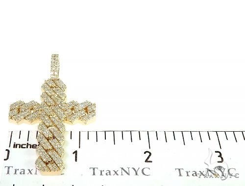 14K Yellow Gold Cuban Link Diamond Cross 66168 Diamond
