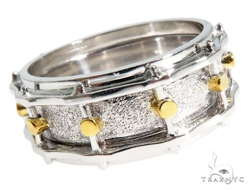14K Yellow Gold Custom Drum Ring 63995 Stone
