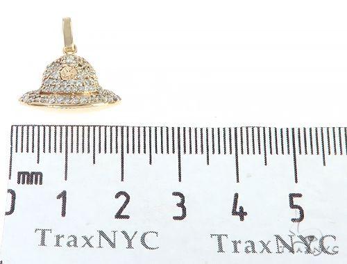 14K Yellow Gold Custom Made Hat Pendant 65286 Stone