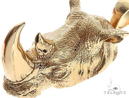 14K Yellow Gold Custom Made Rhino Pendant 65588 Metal