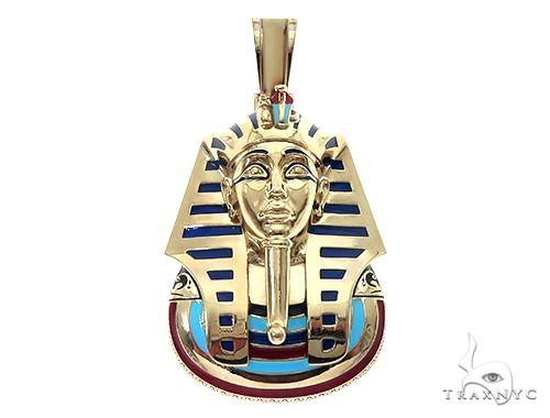 14K Yellow Gold Custom Pharaoh King Tut Pendant 65458 Metal