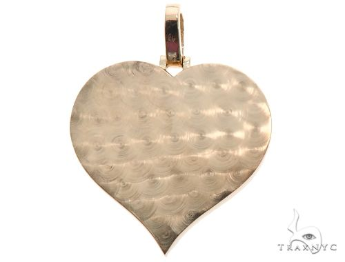 14K Gold Customizable Heart Photo Pendant 1 inch  64627 Stone