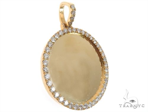 14K Yellow Gold Customizable Photo Pendant 1.75 inches 64629 Stone