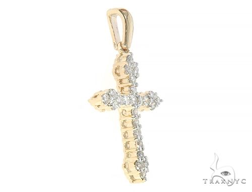 14K Yellow Gold Diamond  Cross 65302 Style