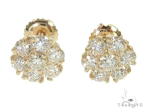 14K Yellow Gold Diamond Cluster Stud Flower Earrings 64185 Stone