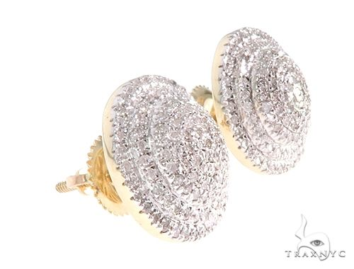 14K Yellow Gold Diamond Cluster Stud Earrings 65144 Stone