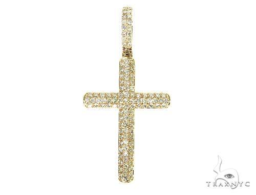 14K Yellow Gold Diamond Cross 65952 Diamond