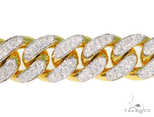14K Yellow Gold Diamond Cuban Bracelet 45367 Diamond
