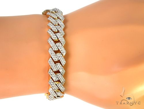 14K Yellow Gold Diamond Cuban Link Bracelet 53.70 Grams 8.5 Inches 12mm 66242 Diamond