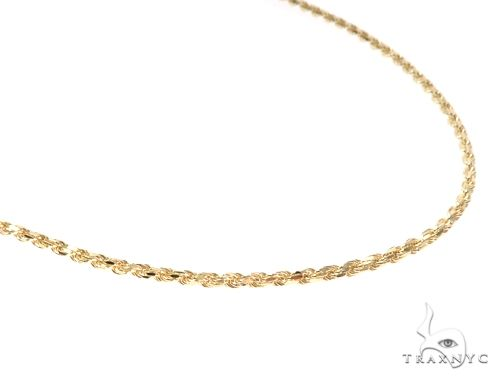 14K Yellow Gold Diamond Cut Solid Rope Chain 26 Inches 2.4mm 13.51 Grams 65925 Gold