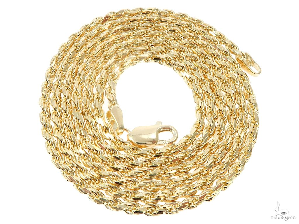 14K Yellow Gold Diamond Cut Solid Rope Chain 20,22,24,26 & 28 Inches 2.5mm, 3.5mm Gold