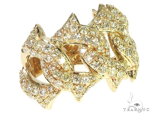 14K Yellow Gold Diamond Spiked Cuban Link Ring 66170 Stone