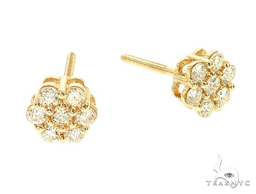 14K Yellow Gold Diamond Flower Stud Earrings 65955 Stone