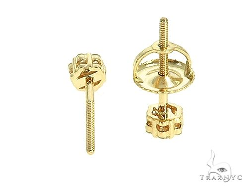 14K Yellow Gold Small Diamond Flower Stud Earrings 65956 Stone
