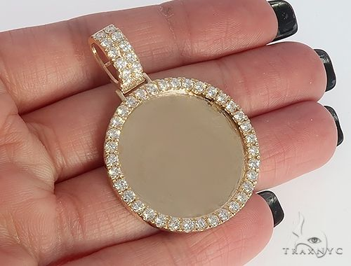 14K Yellow Gold Diamond Frame Custom Photo Pendant 1.25 inch Plus 65409 Style
