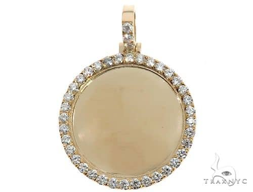 14K Yellow Gold Diamond Frame Customize Photo Pendant 1.5 inches Plus Stone